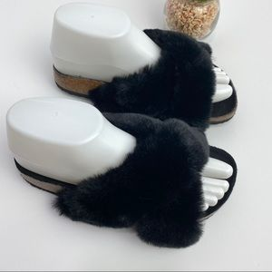 URBAN OUTFITTERS Faux Fur Slide Sandals